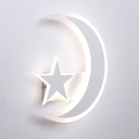 Star Moon Bedroom Hallway Wall Light Acrylic Lovely White Sconce Light in Warm/White