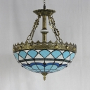Tiffany Style Dome Hanging Lamp Stained Glass Engraved Chandelier for Dining Room Hotel