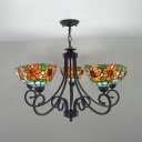 Rustic Style Dome Chandelier with Flower 5 Lights Stained Glass Pendant Lamp for Restaurant
