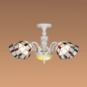 5 Lights Dome Chandelier Tiffany Style Stained Glass Pendant Light for Bedroom Hotel