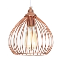 Onion Kitchen Suspension Light with Wire Frame Metal 1 Light Rustic Ceiling Light in Rose Gold