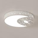 White Moon Plane Flush Mount Light Modern Metal Ceiling Light in Warm/White for Child Bedroom