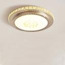 Round Slim Panel Flush Mount Light Modern Crystal LED Ceiling Light with White Lighting for Study Room
