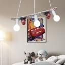 Wood Skateboard LED Hanging Light 3 Heads Creative Suspension Light in Red/White for Child Bedroom
