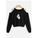 New Stylish Hand Print Cold Shoulder Round Neck Long Sleeve Pullover Black Cropped Sweatshirt