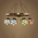Star Shade Restaurant Chandelier Stained Glass 8 Lights Tiffany Style Industrial Pendant Lamp