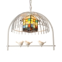 Balcony House Shade Chandelier with Bird & Cage Stained Glass 1 Head Rustic Pendant Light