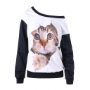 Women's Cute Cat 3D Print Contrast Hem Boat Neck Long Sleeve White Sweatshirt