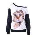 Women's Cute Cat 3D Print Contrast Hem Boat Neck Long Sleeve White Sweatshirt