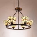 Dining Room Dome Shade Chandelier Glass Metal 6 Lights Tiffany Style Beige Hanging Light