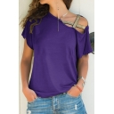 Hot Fashion Hollow Out Round Neck Short Sleeve Plain Casual Tee For Women