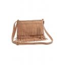 Bohemian Style Plain Rivet Embellishment Fringe Crossbody Shoulder Bag 30*19*10 CM
