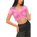 Summer Hot Fashion V-Neck Short Sleeve Ink Print Pleated Cropped Pink T-shirt