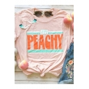 Summer New Stylish Round Neck Short Sleeve Letter JUST PEACHY Print Pink T-Shirt
