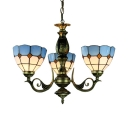 Tiffany Style Nautical Dome Chandelier Glass 3 Lights Blue Pendant Light for Hallway Foyer
