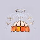 Bowl Shade Flush Ceiling Light Single Light Tiffany Style Glass Ceiling Fixture for Bedroom
