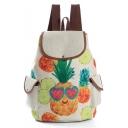 Designer Creative Fruit Pattern Beige Drawstring School Backpack with Side Pockets 28*11*39 CM