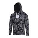 Men Fashion Black Floral Printed Long Sleeve Fitted Drawstring Hoodie