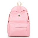 Cute Cartoon Fruit Letter Embroidery Pattern Canvas School Backpack 28*12*40 CM