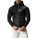 New Stylish Simple Plain PU Patched Long Sleeve Zip Up Black Hoodie with Pocket