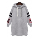 Fashion Letter Stripe Print Long Sleeve Drawstring Hood Split Hem Longline Loose Fit Hoodie for Women