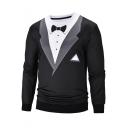 Men's Blazer Tie 3D Print Fake Two Pieces Round Neck Long Sleeve Black Pullover Sweatshirt
