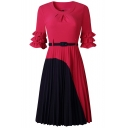 Women's New Trendy Colorblock Round Neck Bell Sleeve Belt Waist Pleated Dress