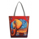 Designer Unique Elephant Printed Red Canvas Shoulder Bag 27*8*37 CM