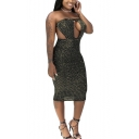 Women New Fashionable Glitter Sexy Cutout Front Strapless Midi Stratch Fit Bandeau Nightclub Dress