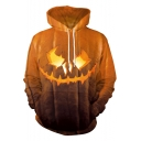 Halloween Pumpkin Print Long Sleeve Yellow Loose Fit Hoodie with Pocket