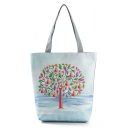 Trendy Colored Tree Printed Gray Shoulder Shopper Bag 27*11*38 CM