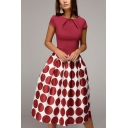 Women's New Stylish Polka Dot Short Sleeve Round Neck Midi A-Line Dress