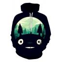 Funny Cartoon 3D Cat Print Drawstring Hood Long Sleeve Black Hoodie