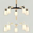 Contemporary Cylinder Chandelier Wood 5 Lights Black/White Pendant Light for Kids Bedroom