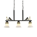 Bell Shade Kitchen Island Pendant Frosted Glass 3 Lights Traditional Island Fixture with Bird Decoration in Black