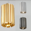 Cylinder Living Room Ceiling Light Stainless Steel 1 Light Modern Hanging Lamp in Black/Chrome/Gold