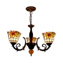 Stained Glass Sunflower Chandelier Restaurant 3 Lights Rustic Style Hanging Lamp
