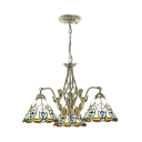 Peacock Tail Bedroom Chandelier with Mermaid Stained Glass 3 Lights Antique Style Pendant Lamp