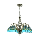 Mediterranean Style Dome Pendant Lamp 5 Lights Glass Suspension Light with Mermaid for Bedroom