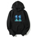 Men's Stylish Number 11 Printed Long Sleeve Drawstring Casual Black Hoodie