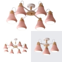6 Lights Hanging Light Simple Style Metal Chandelier Light in Macaron Pink for Bedroom Kindergarten
