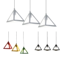 3 Lights Triangle Pendant Light Simple Style Metal Black/Multi-Color/White Ceiling Light for Dining Room