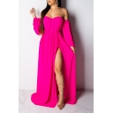 Women's Elegant Off the Shoulder Long Sleeve Plain Split Detail Floor Length Beach Dress