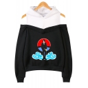 Hot Trendy Comic Anime Figure Cloud Printed Cold Shoulder Long Sleeve Casual Hoodie