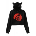 Cute Ear Hood Design Long Sleeve Teen Wolf Printed Cropped Hoodie
