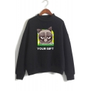 Cute Letter YOUR GIFT Grumpy Cat Print Long Sleeve Mock Neck Pullover Sweatshirt