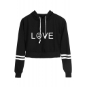 Basic Simple Letter LOVE Sad Face Printed Striped Long Sleeve Cropped Hoodie