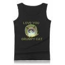 Summer Fashion Cartoon Letter LOVE YOU GRUMPY CAT Sleeveless Relaxed Tank Top