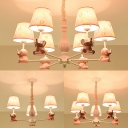 3/5/6 Lights Elephant Suspension Light with Tapered Shade Cute Metal Chandelier in Pink for Kid Bedroom