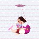 Lovely Girl & Plane Pendant Light 2 Lights Wood Suspension Lamp in Pink for Girl Bedroom